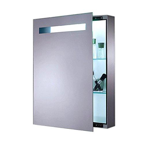 Lux-aqua LED Beleuchtung Spiegelschrank Badschrank Badezimmerschrank Silber FL0811A