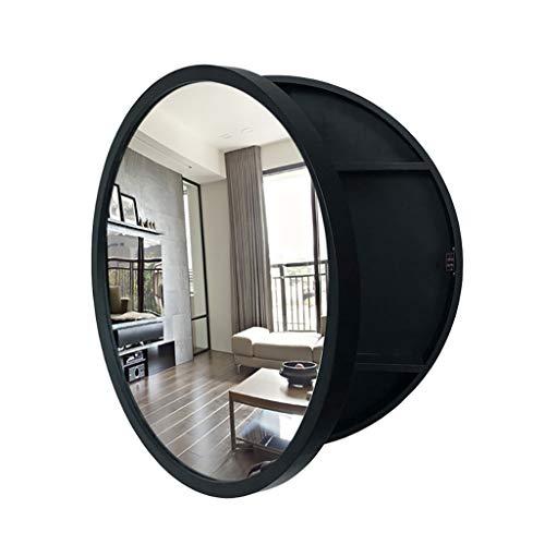 J+N An Der Wand Montiert Spiegelschrank Bad Runder Schwarzer Durchmesser-50cm / 60cm Spiegelschrank Badezimmer Multi-Layer-Massivholzplatte Wandschrank Bad Spiegelschrank
