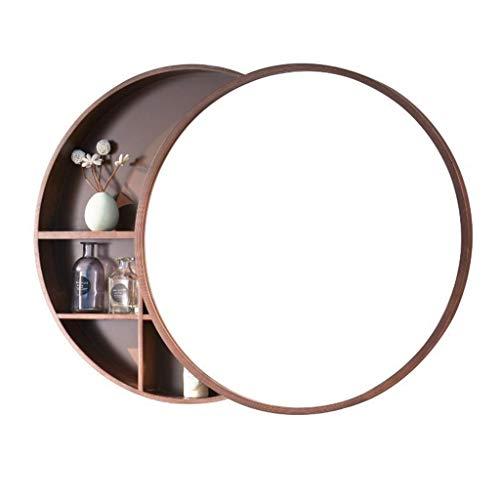 Runder Spiegel, Badezimmer Spiegelschrank Schiebe Spind Walnuss Holz Wand montiert Spiegel 50 * 50cm Spiegel