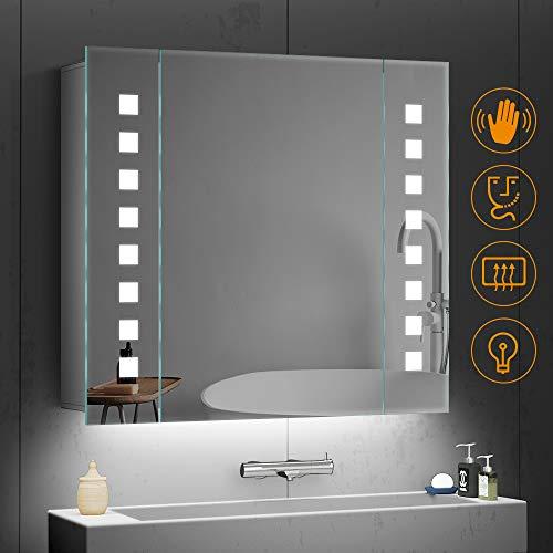 Quavikey 650 x 600mm LED belichtete Badezimmer-Spiegel-Aluminiumbadezimmer-Spiegel-Kabinett-rechteckige Lichter mit Rasierer-Sockel Demister für das Verfassungs-kosmetische Rasierer-Aufladen