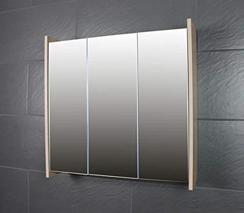 Galdem FROSTI Spiegelschrank 70cm Badezimmerschrank Wandschrank Badmöbel 3 Spiegeltüren 6 Einlegeböden Sonoma Eiche Dunkel