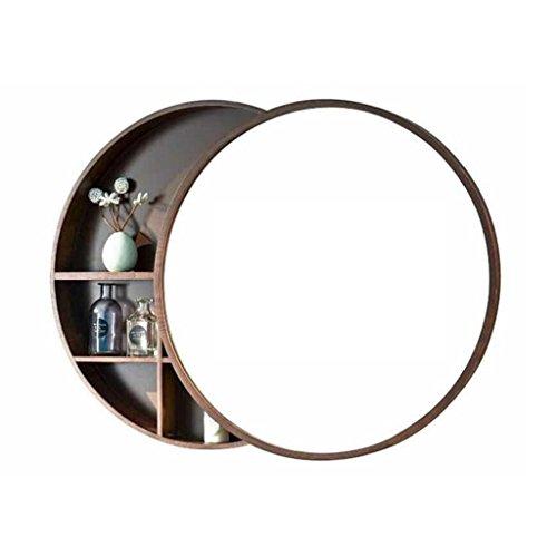 Runde Wandspiegel für Badezimmer Spiegelschrank Push-Pull Schließfächer Walnuss Holz 50 * 50 cm