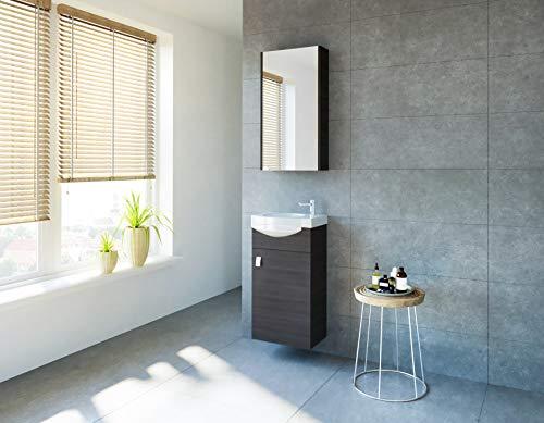 planetmoebel Badmöbel Set Gäste WC Waschtischunterschrank Keramikwaschbecken Spiegelschrank (Anthrazit)