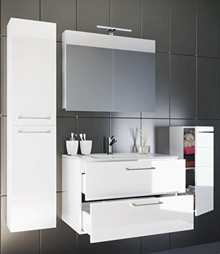 VCM Waschplatz Badmöbel Badezimmer Komplett Set Waschtisch Waschbecken Spiegel Badset 5-TLG. Tenas Weiß