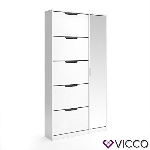 VICCO Schuhkipper LUCA groß 5 Fächer mit Spiegel weiß Schuhregal Schuhschrank Ständer