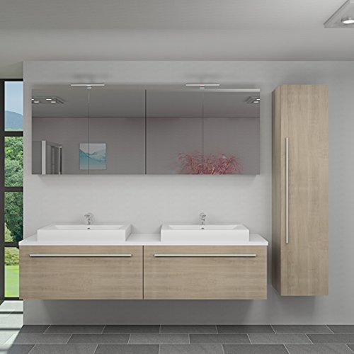 Badmöbel Set City 200 V4 Eiche hell, Badezimmermöbel, Waschtisch 200cm, Beleuchtung Spiegelschrank:2 x 5W LED + 1x Energiebox +65.-EUR