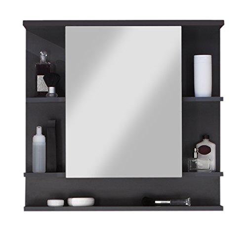 trendteam smart living Badezimmer Spiegelschrank Spiegel Tetis, 72 x 76 x 20 cm in Korpus Graphit ( Dunkelgrau), Front Hochglanz Weiß mit viel Stauraum