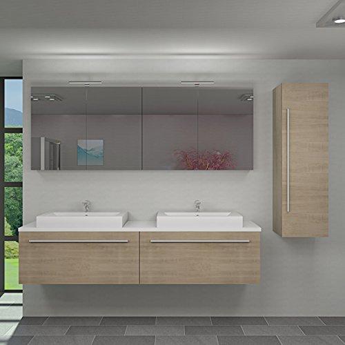 Badmöbel Set City 200 V3 Eiche hell, Badezimmermöbel, Waschtisch 200cm, Beleuchtung Spiegelschrank:2 x 5W LED + 1x Energiebox +65.-EUR