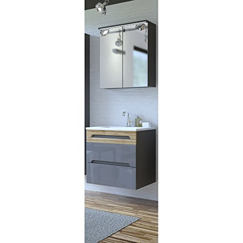 Lomadox Badezimmer Waschplatz Gäste WC Bad Set ● Hochglanz Graphit mit Wotaneiche ● 60 cm Waschtischunterschrank mit Keramik-Waschbecken und LED Spiegelschrank