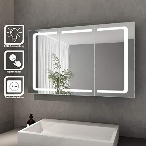 Elegant Bad Spiegelschrank mit Beleuchtung LED Licht Badezimmer Spiegelschrank Bad Hängeschrank mit Steckdose und Kippschalter 3 türig Badezimmerschrank 105 x 65 cm