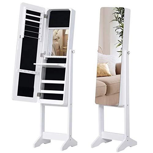 XYAN Schmuckschrank LED Beleuchtung Spiegelschrank Innenspiegel Kleiderspiegel Drehbar