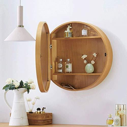 Sdk Runder Badezimmer-Spiegelschrank, Badezimmer-Wand-Speicherkabinett-Spiegel-Medizin-Kabinett mit Slow-Close-Holzrahmen 3-Ebene (Color : Wood Color, Size : 50CM)