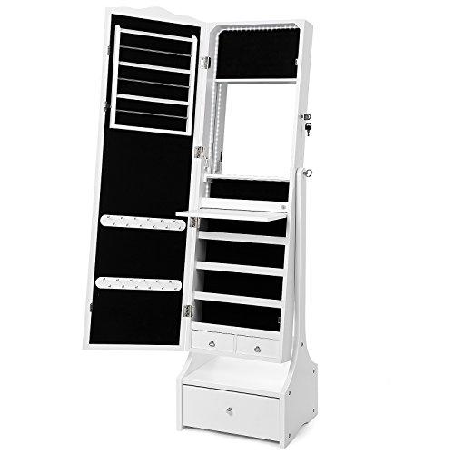 SONGMICS Schmuckschrank mit LED Beleuchtung, abschließbarer Spiegelschrank, mit Innenspiegel und klappbarer Innenablage für Make-up, Weiß JBC87WT