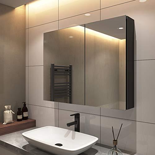 S'AFIELINA Spiegelschrank Hängeschränke 85x65cm Doppeltür Bad Spiegelschrank Badschrank mit Doppelseitiger Spiegel Mit zweilagigem Edelstahlregal(schwarz)