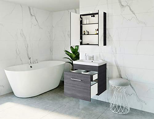 Planetmöbel Waschtischunterschrank mit Spiegelschrank Badmöbel Set 60cm für Badezimmer Gäste WC (Anthrazit)