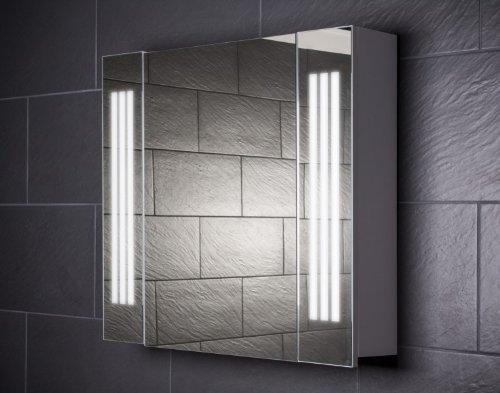 Galdem Spiegelschrank LOFT80 / kleiner Badezimmerschrank 80cm / 1 türig/mit trendiger Beleuchtung T5 Leuchtstofflampe/Softclose Funktion/Steckdose / Badezimm