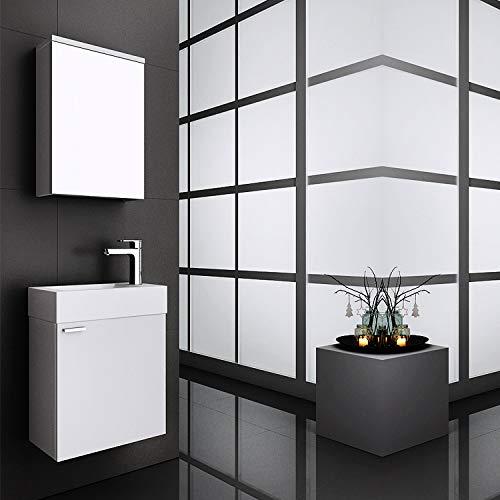MIDI Badmöbel Set für Gäste WC mit Spiegelschrank, Weiß oder Schwarz, Waschtisch mit Waschbecken Mini schmal Bad Breite: 45 cm, Größe: Waschtisch + Spiegelschrank, Farbe: Weiß