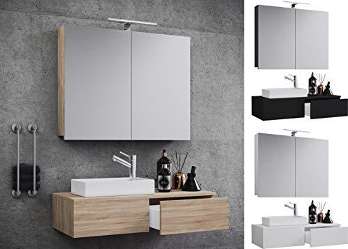 VCM Waschplatz Waschtisch Waschbecken Schrank + Spiegel WC Gäste Toilette Badmöbel klein schmal Gudas Spiegelschrank Weiß