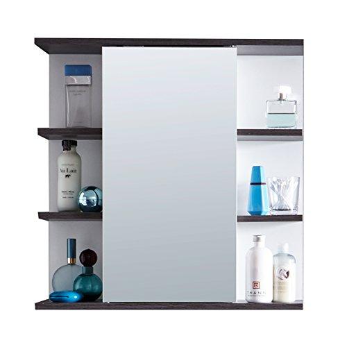 trendteam smart living Badezimmer Spiegelschrank Spiegel California, 60 x 60 x 20 cm in Weiß, Absetzung Rauchsilber mit viel Stauraum und offenen Fächern
