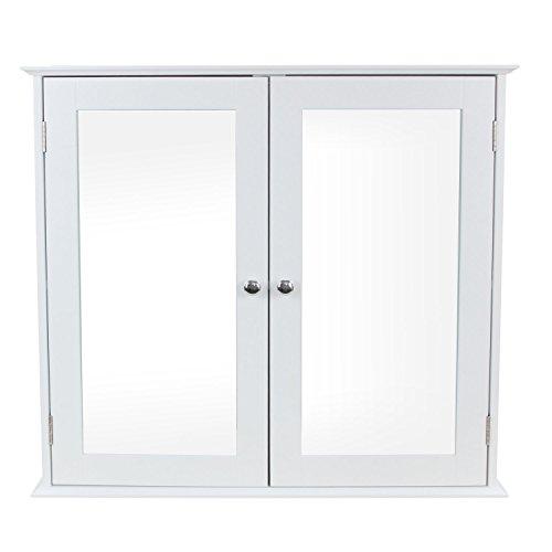 1PLUS Badezimmerschrank Hängeschrank Spiegelschrank mit Zwei Türen aus Holz, Weiß, 68 x 60,5 x 17 cm