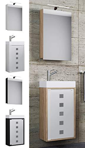 VCM Waschplatz Waschbecken Schrank + Spiegelschrank WC Gäste Toilette Badmöbel klein schmal Blida Spiegelschrank Weiß