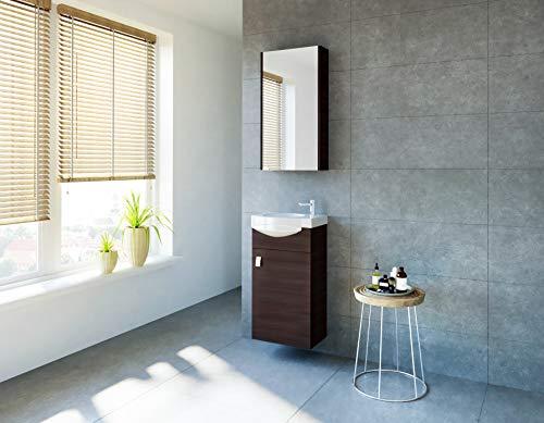 planetmoebel Badmöbel Set Gäste WC Waschtischunterschrank Keramikwaschbecken Spiegelschrank (Wenge)