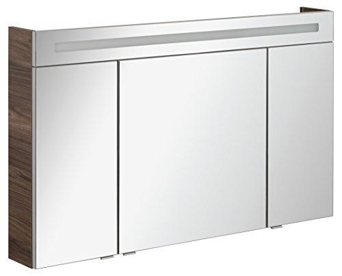 FACKELMANN Spiegelschrank B.CLEVER/dreitürig/Spiegelschrank mit gedämpften Scharnieren/Maße (B x H x T): ca. 120 x 71 x 16 cm/hochwertiger Spiegelschrank/Möbel fürs Bad/Korpus: Braun dunkel