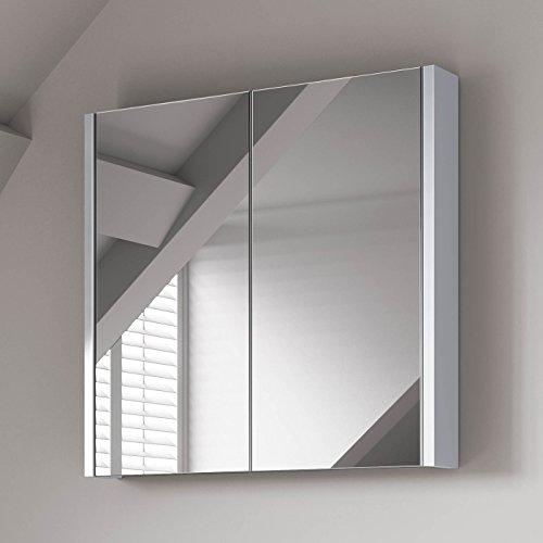 Soak Moderner Spiegelschrank für das Badezimmer - Badschrank mit Spiegel - weiß, 60 x 65 cm, einfache Montage