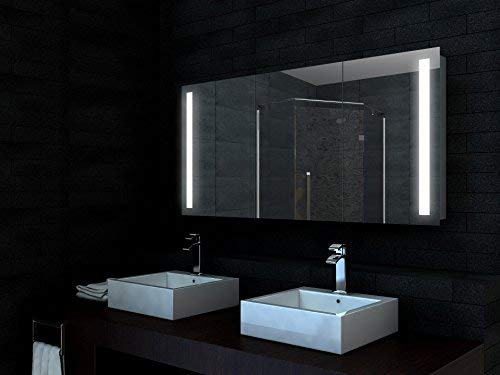 Alu LED Beleuchtung Badezimmerschrank Spiegelschrank Badschrank 140x68cm - SK14068
