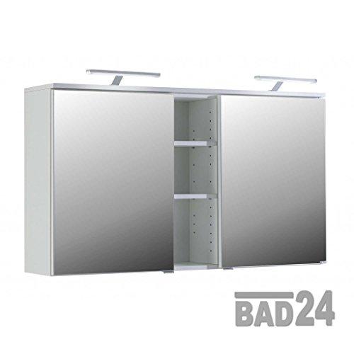 bad24 Grosser Spiegelschrank 120 Mailand Weiss inkl. Beleuchtung-Steckdose