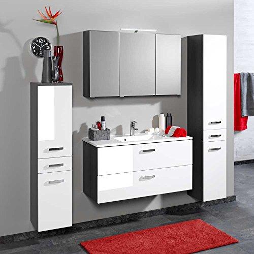 Pharao24 Badezimmer Set in Weiß Grau mit Spiegelschrank (4-teilig) Breite 150 cm