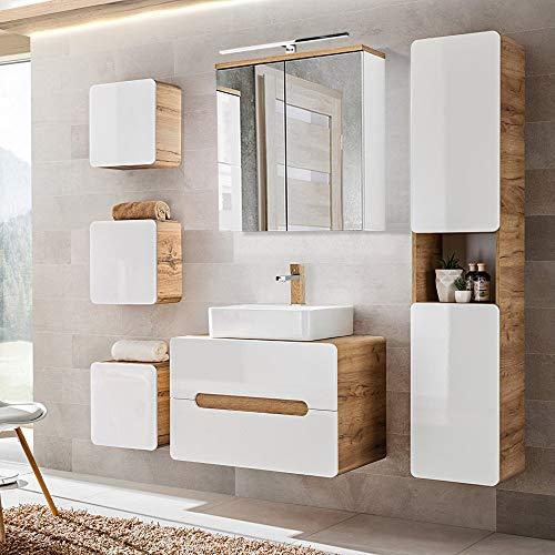 Lomadox Komplett Badezimmer Set in Hochglanz weiß mit Wotaneiche, 50cm Keramik-Waschtisch mit 80cm Unterschrank, LED-Spiegelschrank