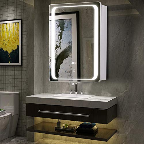Warmiehomy Morden LED-beleuchteter Badezimmer-Spiegelschrank mit Rasiersteckdose, Touch-Schalter, Demister und verstellbarem Licht, Wandmontage für Kosmetik, Make-up, Rasur