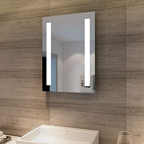 SONNI Badspiegel mit Beleuchtung 45 x 60 cm Wandspiegel Spiegel mit Beleuchtung Badezimmerspiegel kaltweiß IP44 Badezimmer Bad Spiegel