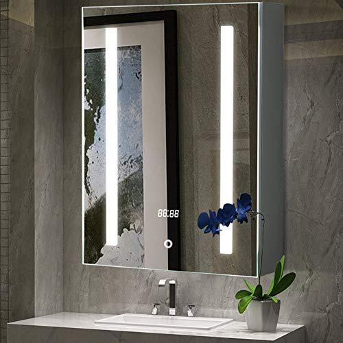 Warmiehomy LED-beleuchteter Badezimmer-Spiegelschrank, (H x B x T): 600 x 450 x 135 mm, mit LED-Licht, Touch-Schalter, Rasiersteckdose, Demister Temperaturanzeige (60 x 45 cm)