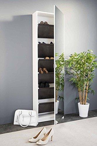 lifestyle4living Schuhschrank in modernem weiß mit praktischer Spiegeltür und viel Stauraum für Ihre Schuhe!