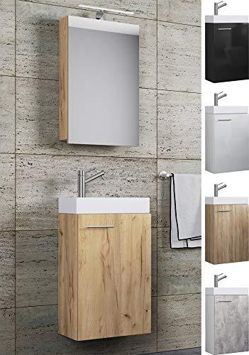 VCM Waschplatz Waschbecken Schrank + Spiegelschrank WC Gäste Toilette Badmöbel klein schmal Slito Spiegelschrank Sonoma-Eiche