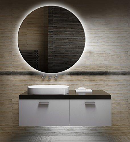 Badezimmerspiegel mit Beleuchtung LED Spiegel - 40 cm Durchmesser -runder Badspiegel mit Licht - Design Spiegel für Bad und Gäste WC hinterleuchtet - beleuchteter Wandspiegel Rahmenlos - OZ-LED_FI