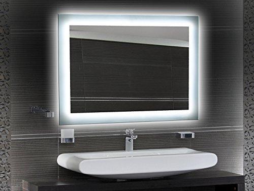 Badezimmerspiegel mit Beleuchtung LED Spiegel - 65x50 cm - Badspiegel mit Licht - Design Spiegel für Bad und Gäste WC hinterleuchtet - beleuchteter Wandspiegel Rahmenlos - O-LED