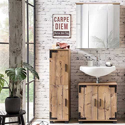 Lomadox Badmöbel Waschplatz Set mit Holzoptik in Silbereiche Nb, Waschbeckenunterschrank mit Siphonausschnitt, LED-Spiegelschrank mit Steckdose und Highboard mit 2 Türen, Made in Germany