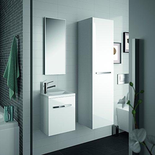 ALLIBERT Badmöbel-Set Badmöbel vormontiert weiß Glanz Waschtisch 40 cm Spiegel