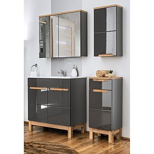 Lomadox Badezimmer Möbel Set 4-teilig mit Hochglanz Fronten 60 cm Waschtischunterschrank inkl. Keramikwaschtisch, Hängeschrank, Unterschrank und Spiegelschrank