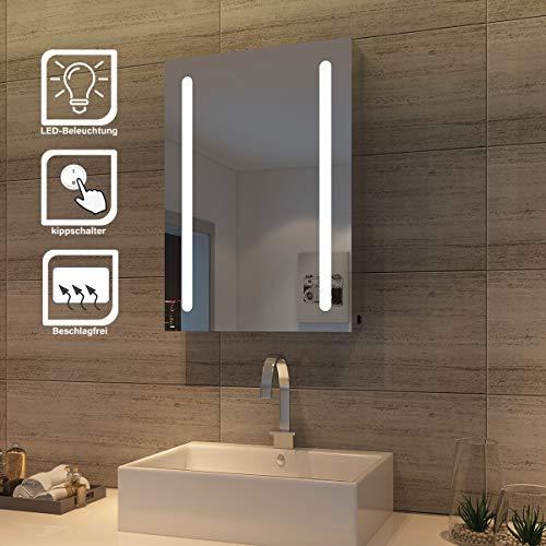SONNI LED Spiegelschrank 70 x 50 x 13 cm Hochglanz Badezimmerspiegel - Badschrank mit Beleuchtung