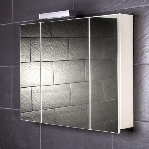 Galdem Spiegelschrank START80 / großer 3D Spiegelschrank 80 cm / 3 türig/Halogen Beleuchtung/Softclose Funktion/Steckdose/Badezimmer Spiegel auch als Flur