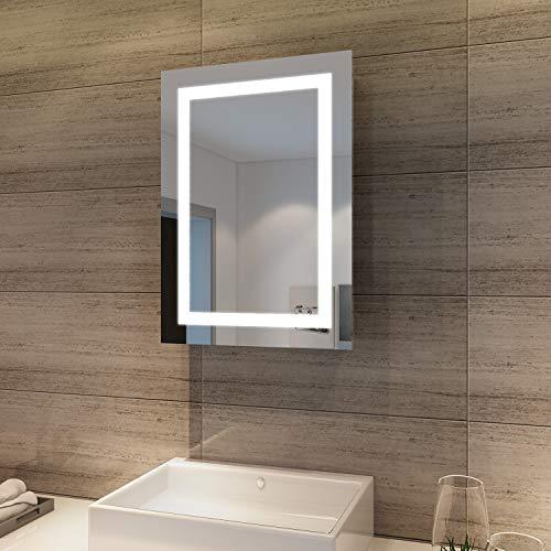 SONNI LED Spiegelschrank 70 x 50 x 13 cm Hochglanz Badezimmerspiegel - Badschrank mit Schiebetürr, mit Antibeschlag-Funktion