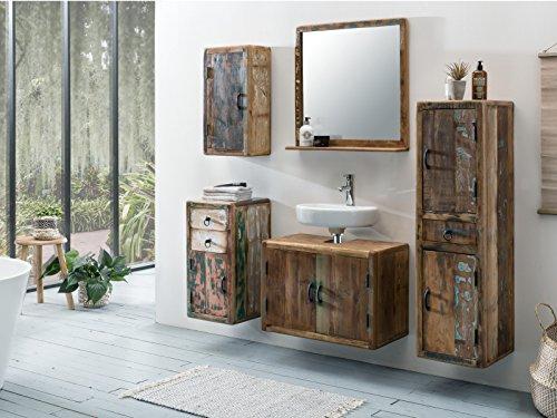 Woodkings® Bad Set Kalkutta 5teilig hängend recyceltes Holz rustikal Mehrfarbig Badmöbel Badschrank Badezimmer Komplettset Echtholz