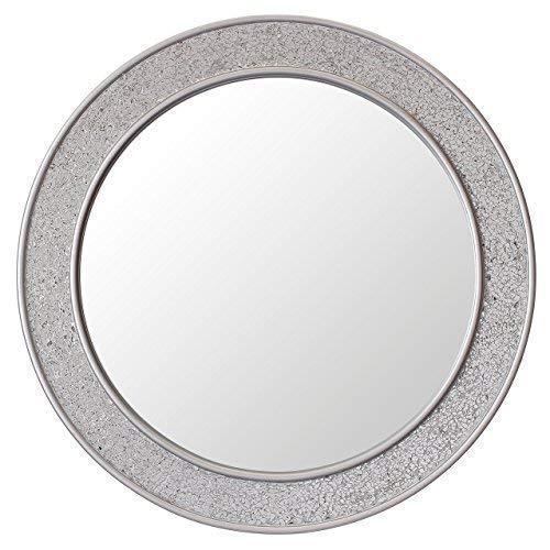 Glamour by Casa Chic Runder Mosaikspiegel - Silber - Groß - 60 cm Durchmesser - Badspiegel