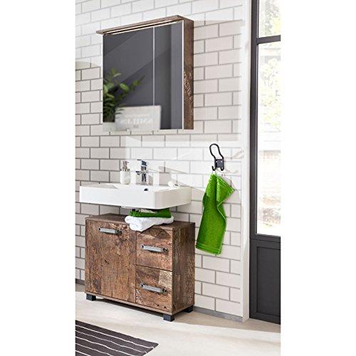Komplett Badmöbel Waschplatz Set Panamaeiche Waschbeckenschrank 60cm Spiegelschrank mit LED Beleuchtung Türen mit Dämpfung Gäste WC B x H x T: 65,1 x 200 x 32 cm