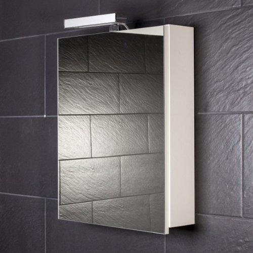Galdem Spiegelschrank START50 / Spiegelschrank 50 cm / 1 türig/Halogen Beleuchtung/Softclose Funktion/Steckdose/Badezimmer Spiegel auch als Flurspiegel gee