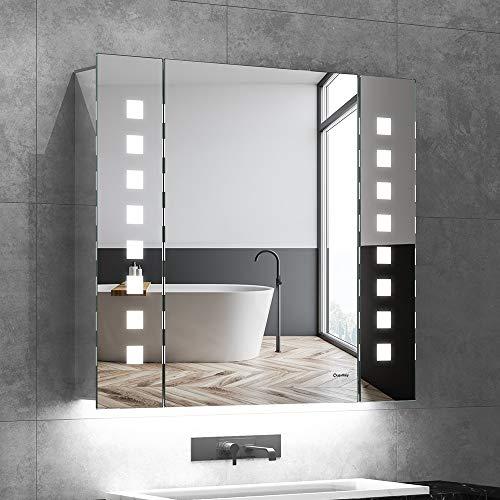 Quavikey LED Spiegelschrank 65x60cm Badezimmer Spiegelschrank mit Beleuchtung Aluminium Lichtspiegelschrank Hinterbeleuchtung Rasier Steckdose Antibeschlag IR-Sensor Schalter